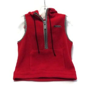 Bebe Zippered Hooded Fleece Vest Red S USA